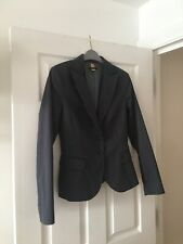 Sisley Fitted Blazer Suit Jacket Blue Grey Red Pinstripe Size 42 UK Size 10