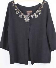 DANA BUCHMAN Ladies Open Cardigan Jacket Black Sz M Cotton 3/4 Slv Paillettes