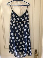 LADIES  DRESS - SUNNY GIRL SIZE 10 - WHITE ON NAVY POLKA DOT EX COND - LINED