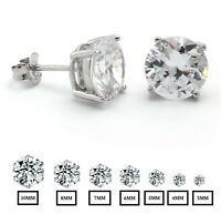 .925 Sterling Silver Round Cut Clear Cubic Zirconia Stud Earrings New, Push Back