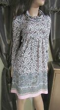 True Vtg 60s Mod Empire Waist Pink Paisley Block Print Cowl Neck Mini Dress S