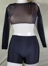 NWT Pumpers Black & Gold Lace Short Leg Unitard Costume     Adult S