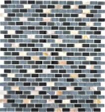 Mosaico Tessere traslucido vetro pietra composito guscio nera 86-0003 | 1 foglio