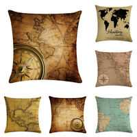 """18"""" Throw Pillow Case Cushion Cover Home Decor Vintage World Map Pattern Cojines"""