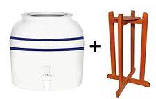 Porcelain Ceramic Water Dispenser Blue Stripes and Dark Natural Wood Floor Stand