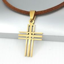 Gold Matrix Gothic Celtic Cross Pendant 3mm Brown Leather Cord Tribal Necklace