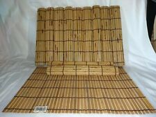 Roll-Up Bamboo Wood Placemats Dinner Table Setting Sushi Mat Set Of 12 New