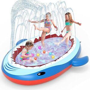 Sprinkler Pool for Kids Large Inflatable Shark Splash Pad Outdoor Water Toys
