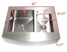 36 Inch Stainless Steel Curved Front Farm Apron Double Bowl 60/40 Kitchen Sink
