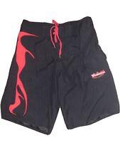 Budweiser Beer Mens Black Red Flames Swim Trunks Board Shorts Size M