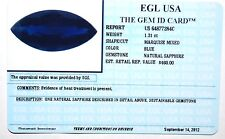 EGL USA Certified natural SAPPHIRE 1.31ct MARQUISE WITH GEM ID APPRAISAL $460.00