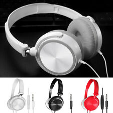 3.5mm Wired Headphones Over Ear Headsets Bass Stereo Earphone With Microphone pf