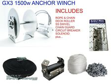 Anchor Winch KIT GX3 Lone Star 1500W Electric 300mm Drum +Rope Chain Boats to 9m