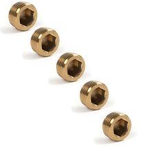 """5pcs  1/4""""12mm NPT Brass Internal Hex Thread Socket Pipe Plug  brass tone"""