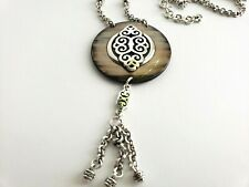 BRIGHTON  Geneva Large Shell Silver Long Necklace 21'' - 26''