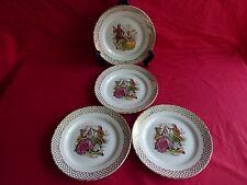 4 assiettes plates en céramique,scéne galante,marquis,marquise (3)