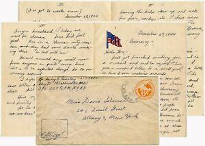 WW2 LETTER 28 DEC 1944 re SCENE INSIDE GERMANY + US ARMY APO on STATIONERY ENV