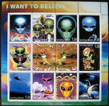 2000 MNH SCIENCE FICTION STAMPS SHEET ALIENS FLYING SAUCER UFO I WANT TO BELIEVE