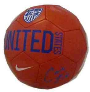 Carli Lloyd Autographed/Signed USA Red Nike Soccer Ball JSA 13997