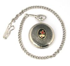 Oval Cross and Crown Pocket Quartz Watch Gift Boxed FREE ENGRAVING Masonic  255