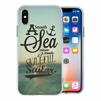 For Apple iPhone X Silicone Case Nautical Sea Quote Waves - S1062