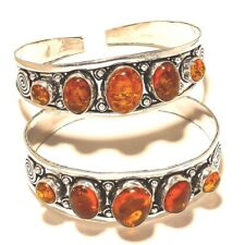 Amber Gemstone Silver Plated 2Pcs Cuff Jewellery