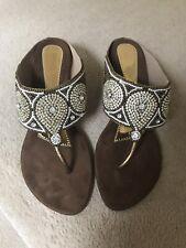 Brown Rhinestone/Diamanté Sandals/Slippers Size 6/Euro 39 Brand New