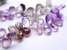 10-12mm Rutilated Amethyst Faceted Teardrop Briolette Gemstone Beads - 4pcs