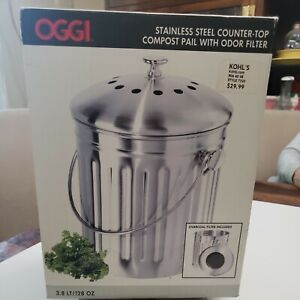 Oggi Stainless Steel Counter Top Compost Pail With Odor Filter