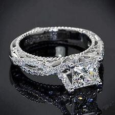 Certified 3.66CT White Princess Cut Diamond Fancy Engagement Ring 14K White Gold