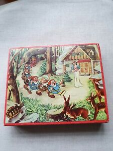 Vintage Snow White  &  Seven Dwarves Cube Block Puzzle - Made In Czechoslovakia