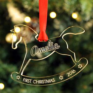 First Christmas Rocking Horse Personalised Bauble Baby Keepsake Xmas Tree Gift