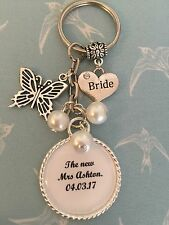 Wedding BRIDE Keyring Keepsake Favour Gift ANY WORDING ANY COLOURS