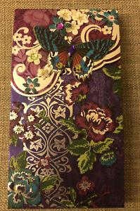Punch Studio Silver Foil Embellished & Jewels Pocket Notepad Purple Butterflies