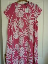 THE COLLECTION PINK & OFF WHITE PALM PRINT TUNIC DRESS UK 20 EUR 46-48, US 16 BN