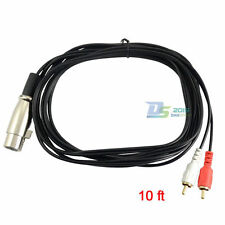 3m 10ft XLR Female to 2X RCA Phono Male Plug Adapter Stereo Audio Speaker Wire