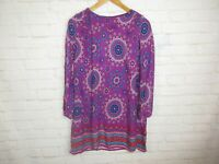 Crazy 8 Girls Size 14 Dress Purple BOHO Print Long Sleeve Above Knee Dress
