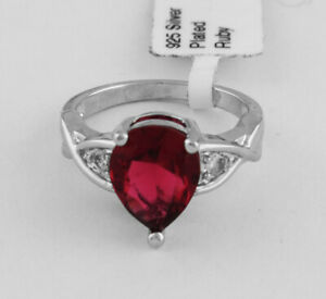 BEAUTIFUL RUBY & WHITE SAPPHIRES 2.46 Cts  RING Size 5