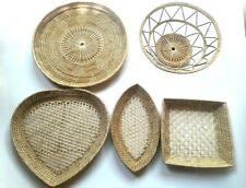 Baskets Wicker Rattan Woven Vintage Wall Décor Boho Handmade Natural Set 5 Multi