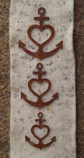3tlg. Edelrost Anker mit Herz Kreuz zum Aufhängen Mobile Gartendekoration