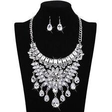 Rhinestone Diamante party bib chunky collar Pendant statement Necklace set