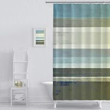 "Extra Long 84"" Blue Gray Abstract Rustic Striped Farmhouse Fabric Shower Curtain"