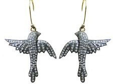 Diamond 14K Gold/Silver Flying Bird Earring Spectacular 2.84 Ct. Pave Rose Cut