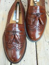 MEZLAN Mens Dress Shoes Brown Woven Leather Casual Slip On Tassel Loafer Size 8W