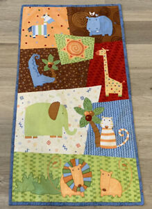 Small Baby Quilt, Whimsical Animals, Elephant, Lion, Giraffe, Vivid Multi Colors