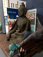 ANTIQUE / VINTAGE INDIAN  CLAY & SILK SERENE, SACRED BUDDHA. KATHMANDU, NEPAL.