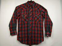 Mens W-B Western Wear Medium Red Plaid  Long Sleeve Pearl Snap Western Shirt
