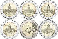 Deutschland 5 x 2 Euro Schloß Charlottenburg 2018 bankfrisch mit Mzz A D  F G J