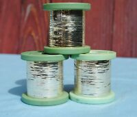 VINTAGE FRENCH FINE METALLIC TINSEL SILVER THREAD SPOOL BOBBIN FLY TYING FISHING