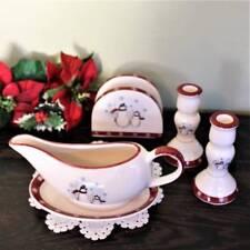 Snowman Dishes 5pc Royal Seasons Stoneware Gravy Boat Napkin Candle Holders